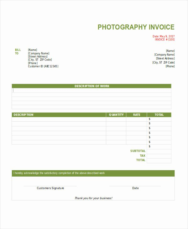 Free Photography Invoice Template Lovely Free 12 Graphy Invoice Examples & Samples In Google