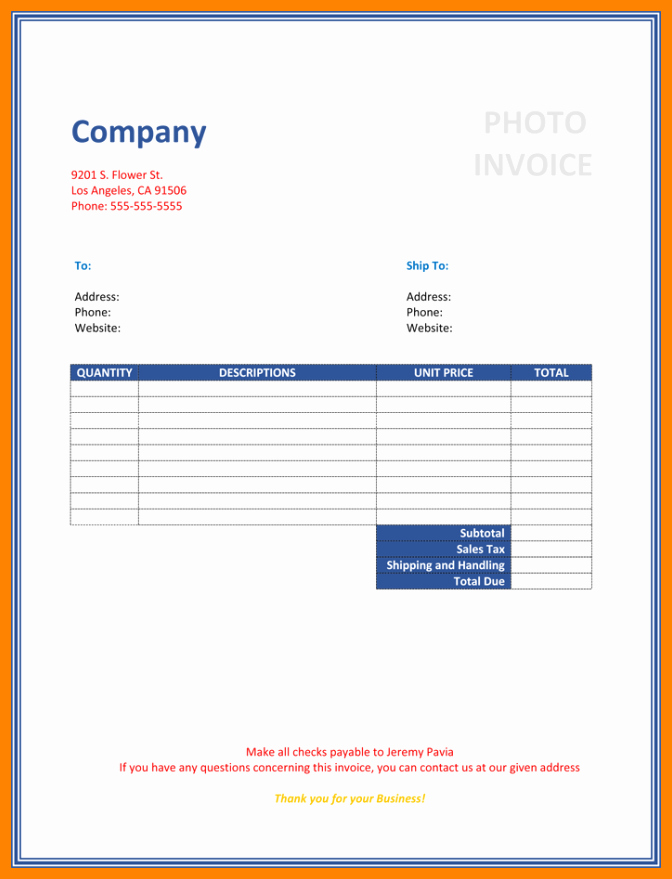 Free Photography Invoice Template Luxury 7 Photography Invoice Template Free