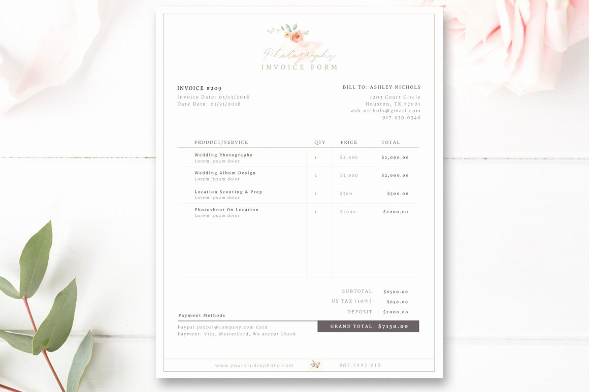 Free Photography Invoice Template New Invoice Template for Graphers Flyer Templates