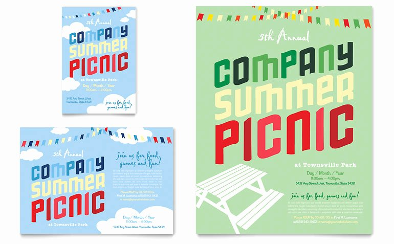 Free Picnic Flyer Template Awesome Pany Summer Picnic Flyer & Ad Template Word & Publisher