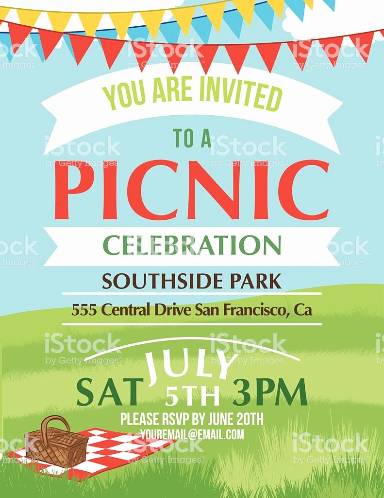 Free Picnic Flyer Template Beautiful Cartoon Summer Picnic Invitation Template Stock Vector Art
