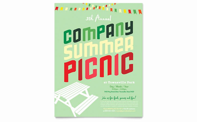 Free Picnic Flyer Template Inspirational Pany Summer Picnic Flyer Template Word & Publisher