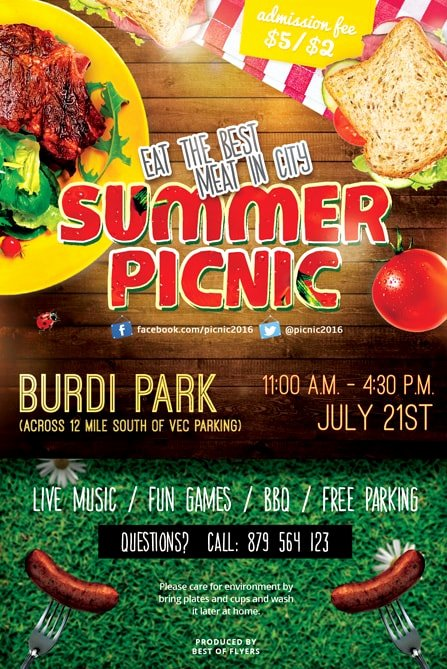 Free Picnic Flyer Template Unique Summer Picnic Free Psd Flyer Template