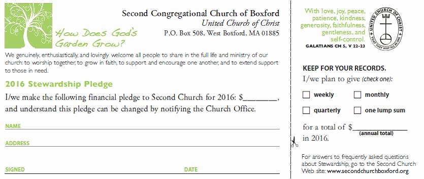 Free Pledge Card Template Beautiful Second Congregational Church Of Boxford Stewardship