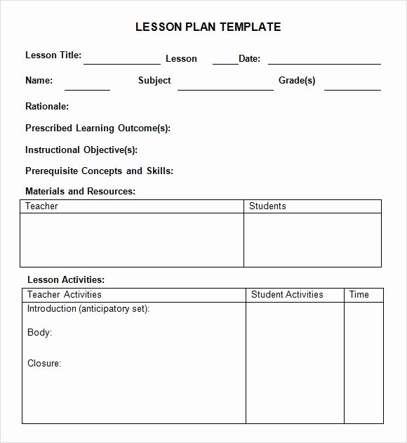 sample weekly lesson plan