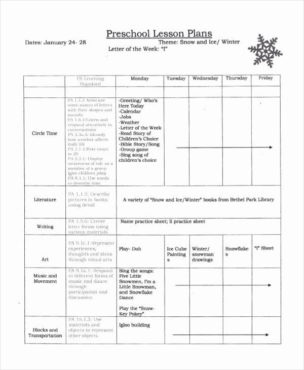 Free Preschool Lesson Plan Template Unique Preschool Lesson Plan Template 10 Free Word Pdf Psd