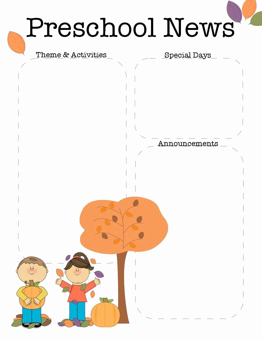 Free Preschool Newsletter Templates Best Of October Preschool Newsletter Template