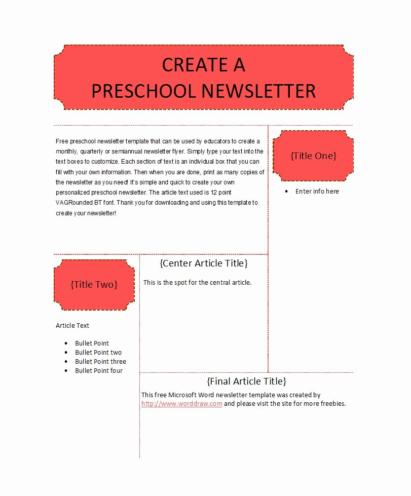 Free Preschool Newsletter Templates Elegant 50 Creative Preschool Newsletter Templates Tips