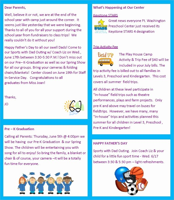 Free Preschool Newsletter Templates Fresh Sample Preschool Newsletter 8 Free Download for Word Pdf
