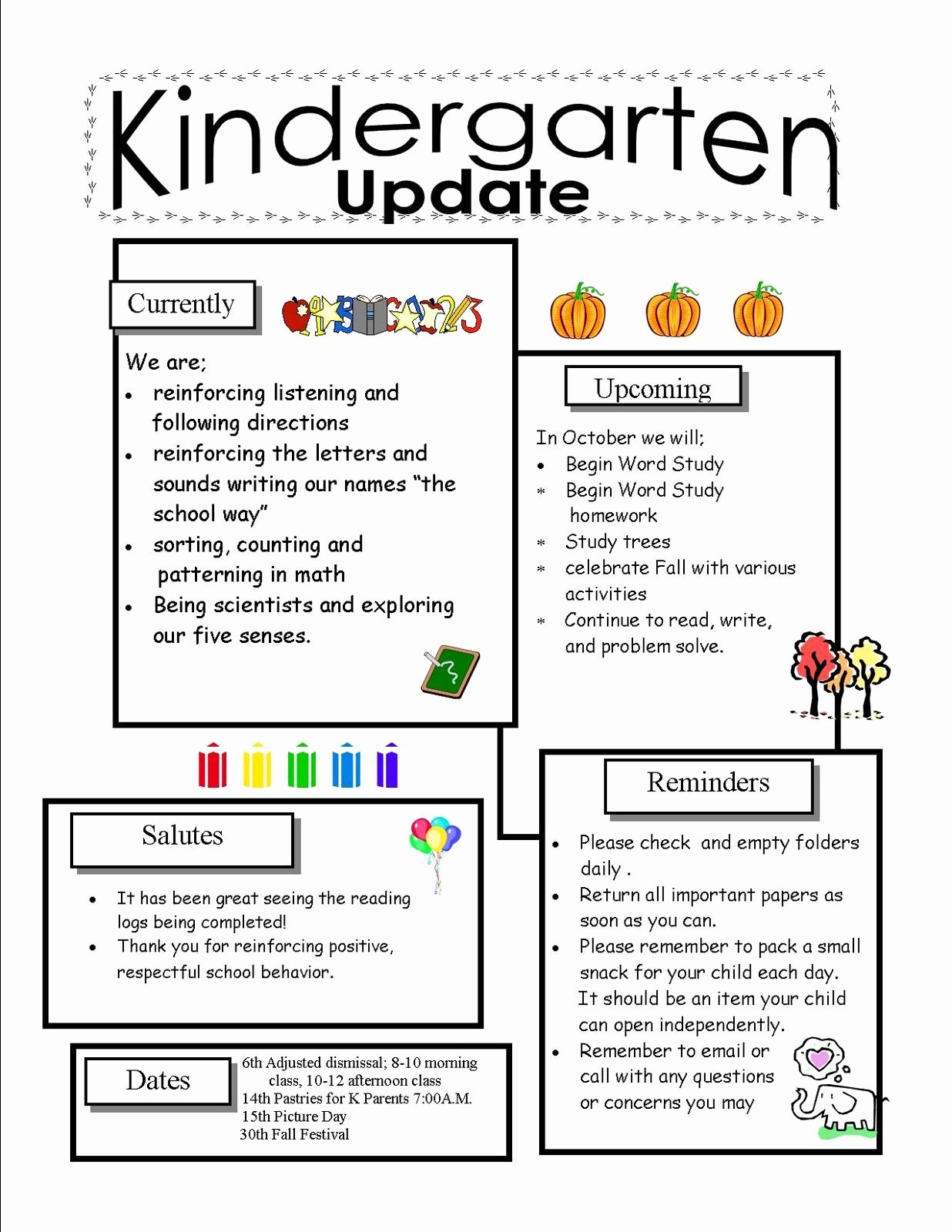 Free Preschool Newsletter Templates Lovely Kindergarten Newsletter Templates for Free