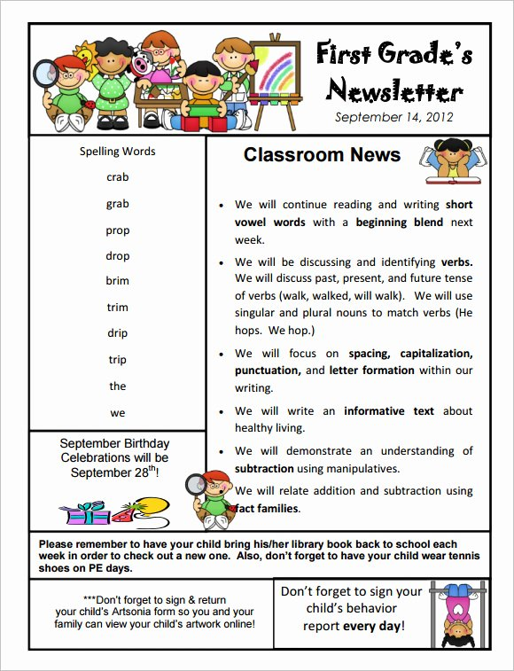 Free Preschool Newsletter Templates Luxury Free 9 Sample Kindergarten Newsletter Templates In Sample