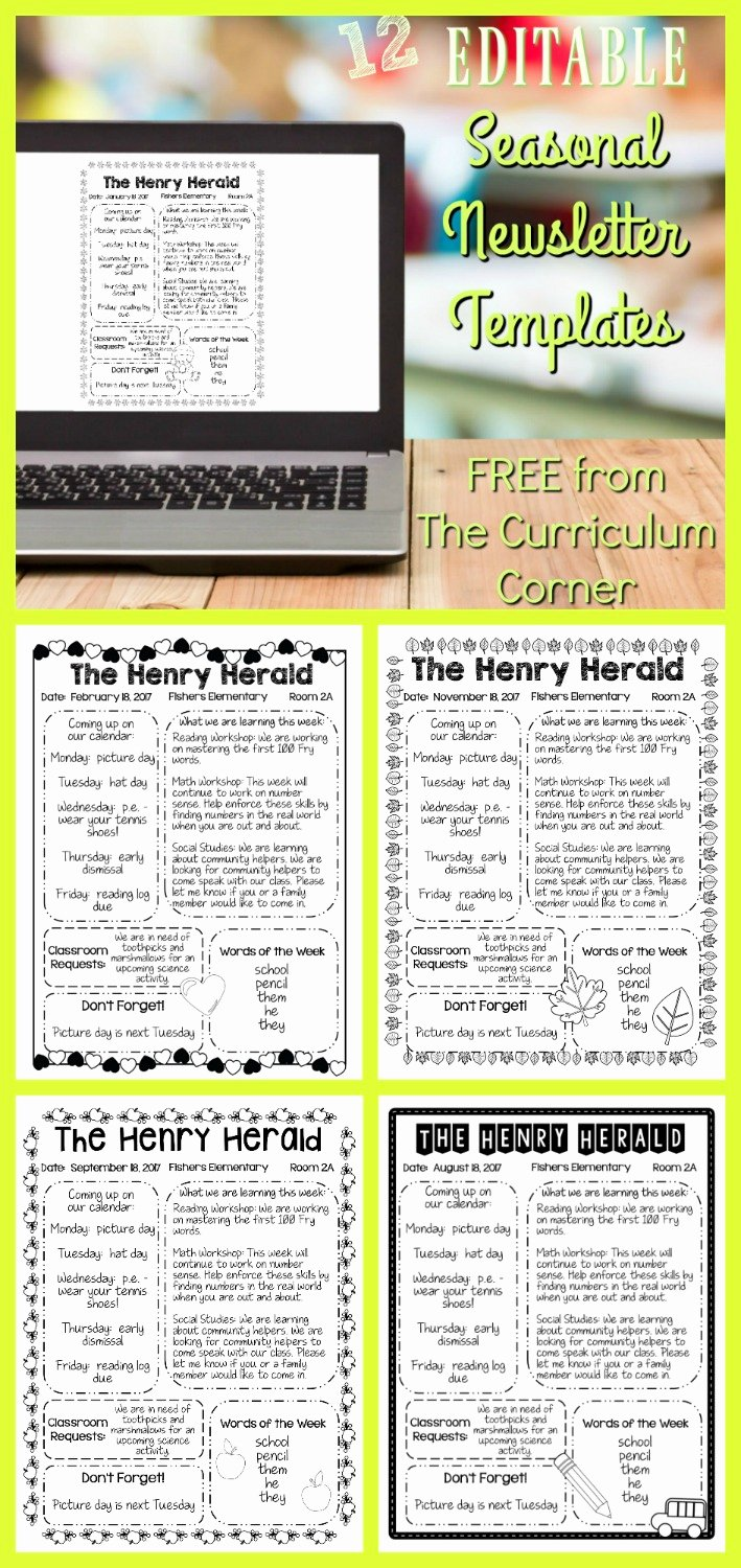 Free Preschool Newsletter Templates New Editable Seasonal Newsletter Templates the Curriculum
