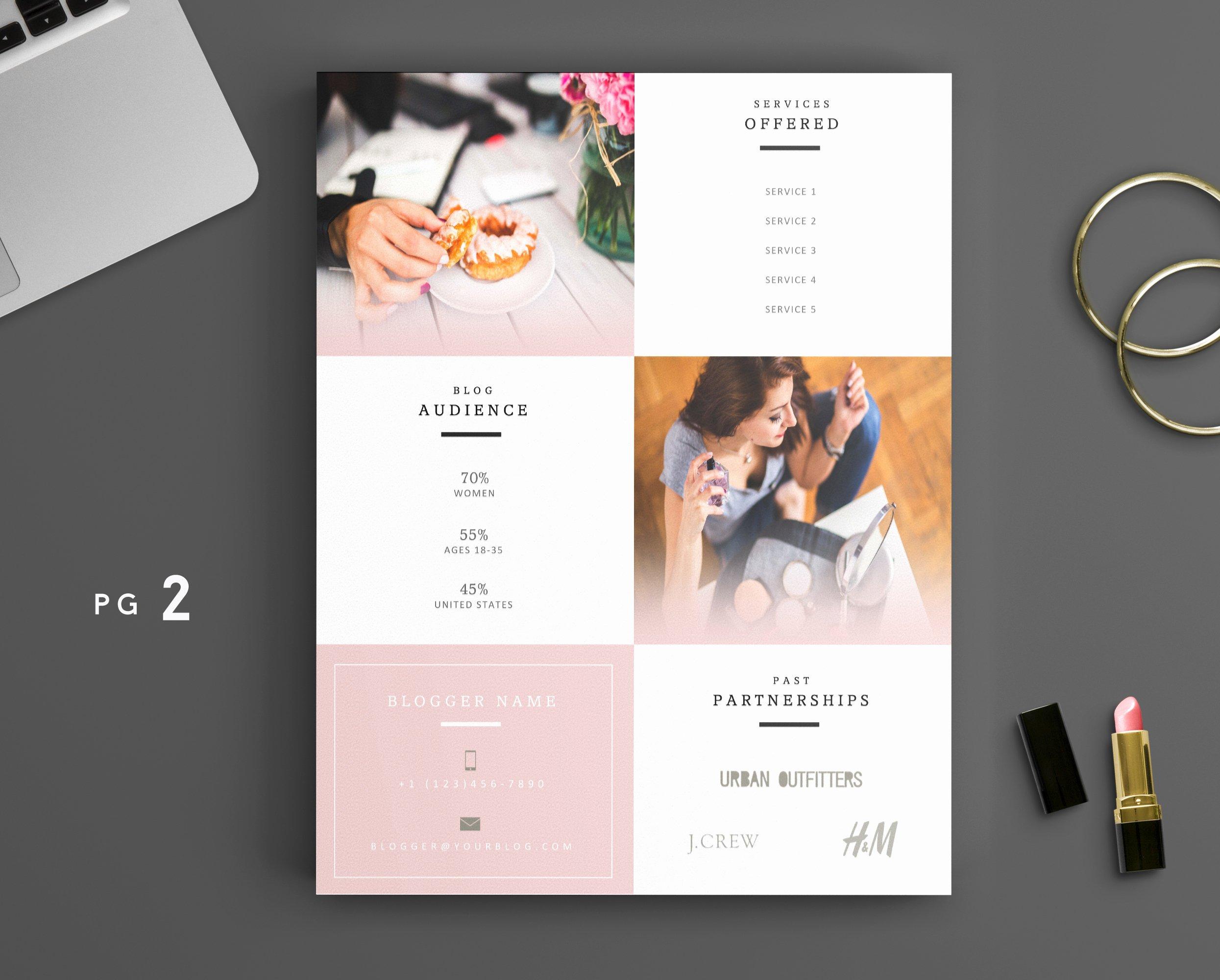Free Press Kit Template Luxury Beauty Blogger Pink Media Kit Template