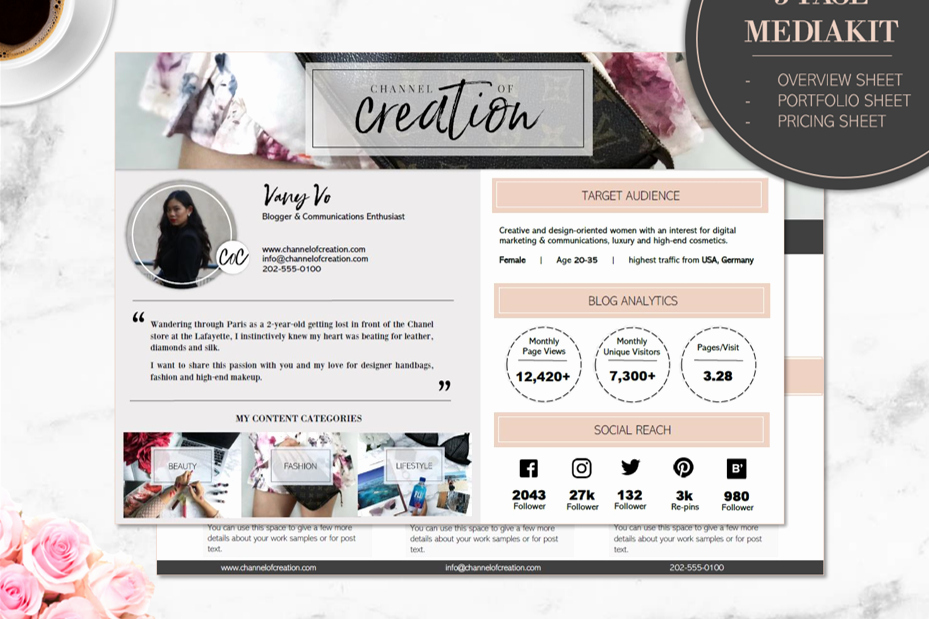 Free Press Kit Template Unique 3 Page Media Kit Template Bloomy Press Kit for Blog