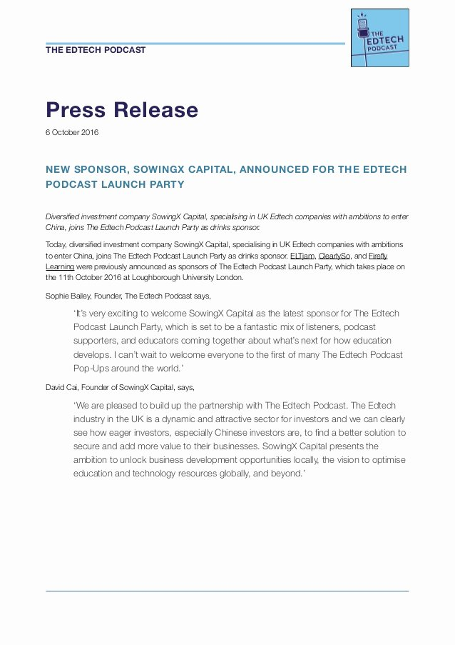 Free Press Releases Templates Elegant the Edtech Podcast Launch Party New Sponsor Announcement