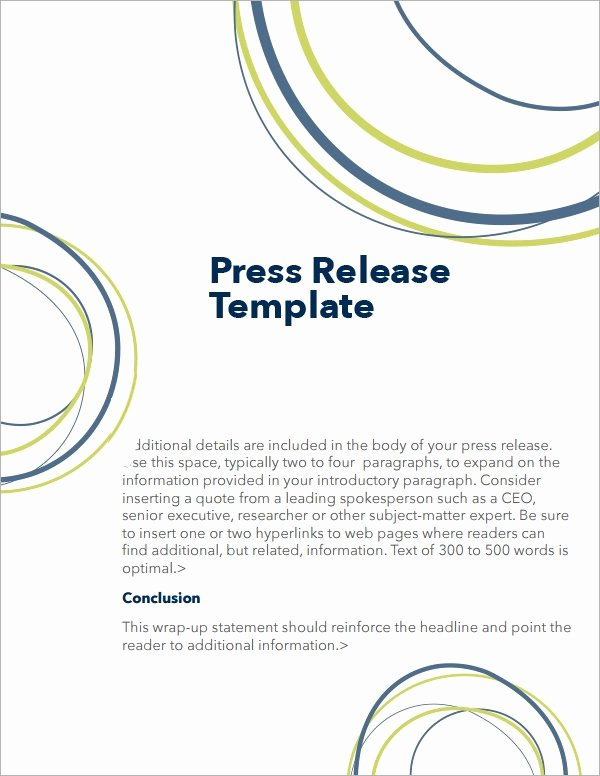 Free Press Releases Templates Fresh Free 7 Press Release Templates In Word