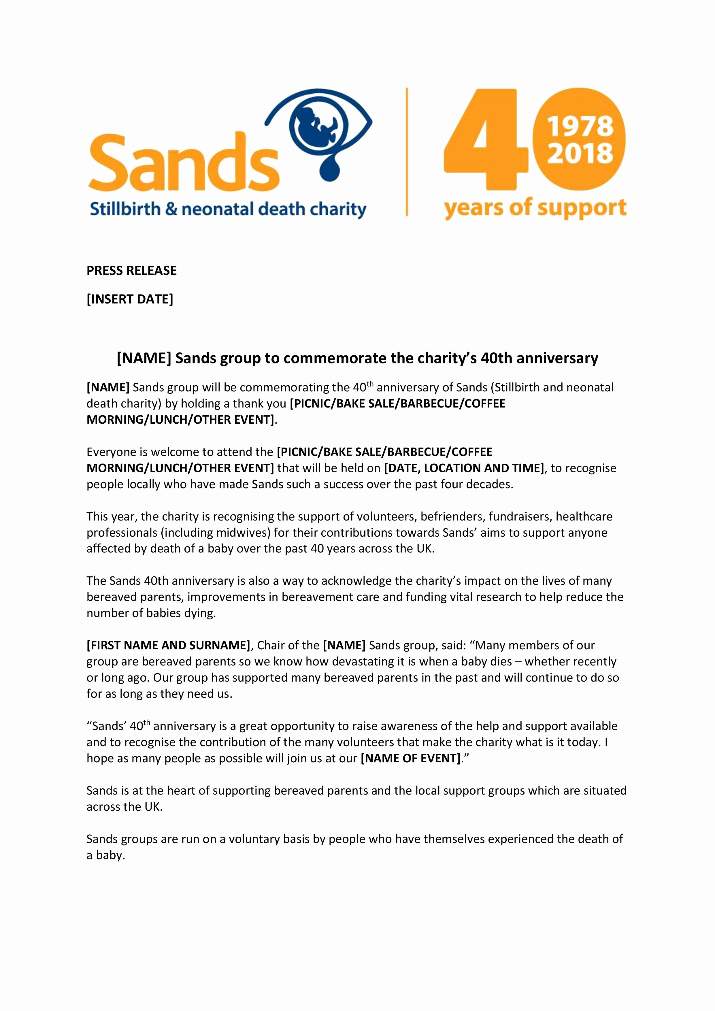 Free Press Releases Templates New Press Release Template for Sands Groups