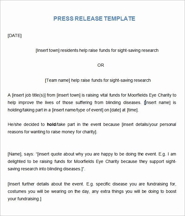 Free Press Releases Templates New Sample Press Release Templates 7 Free Documents