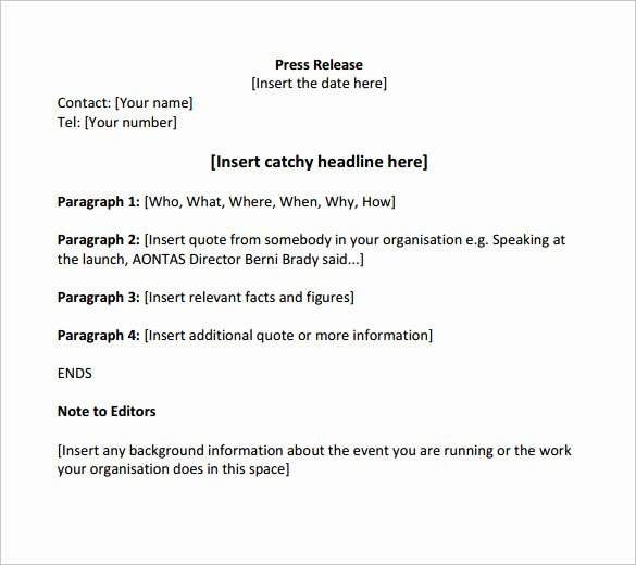 Free Press Releases Templates Unique Sample Press Release Template 13 Free Documents In Pdf