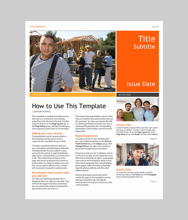 word newsletter templates