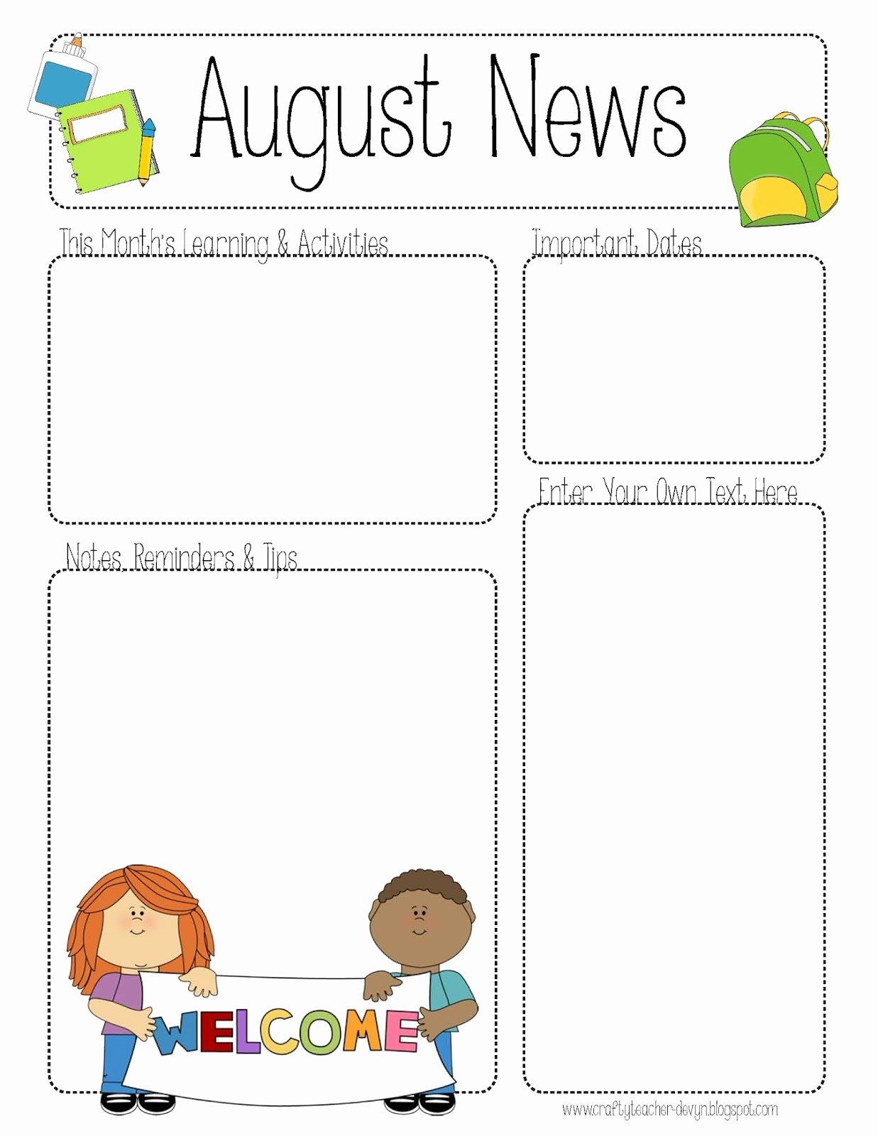 Free Print Newsletter Templates Elegant Free Teacher Newsletter Templates Printable