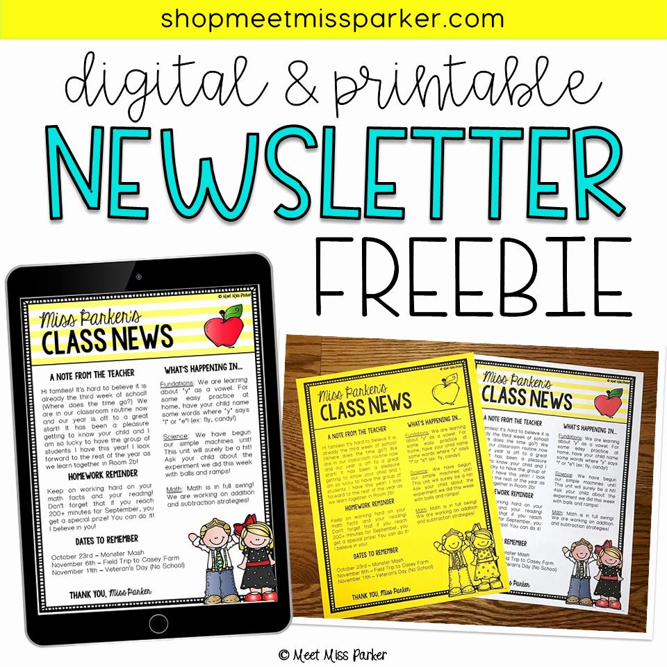 Free Print Newsletter Templates Inspirational Free Newsletter Template for Your Classroom This Editable