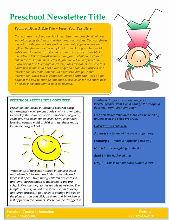 Free Print Newsletter Templates New 16 Preschool Newsletter Templates Easily Editable and