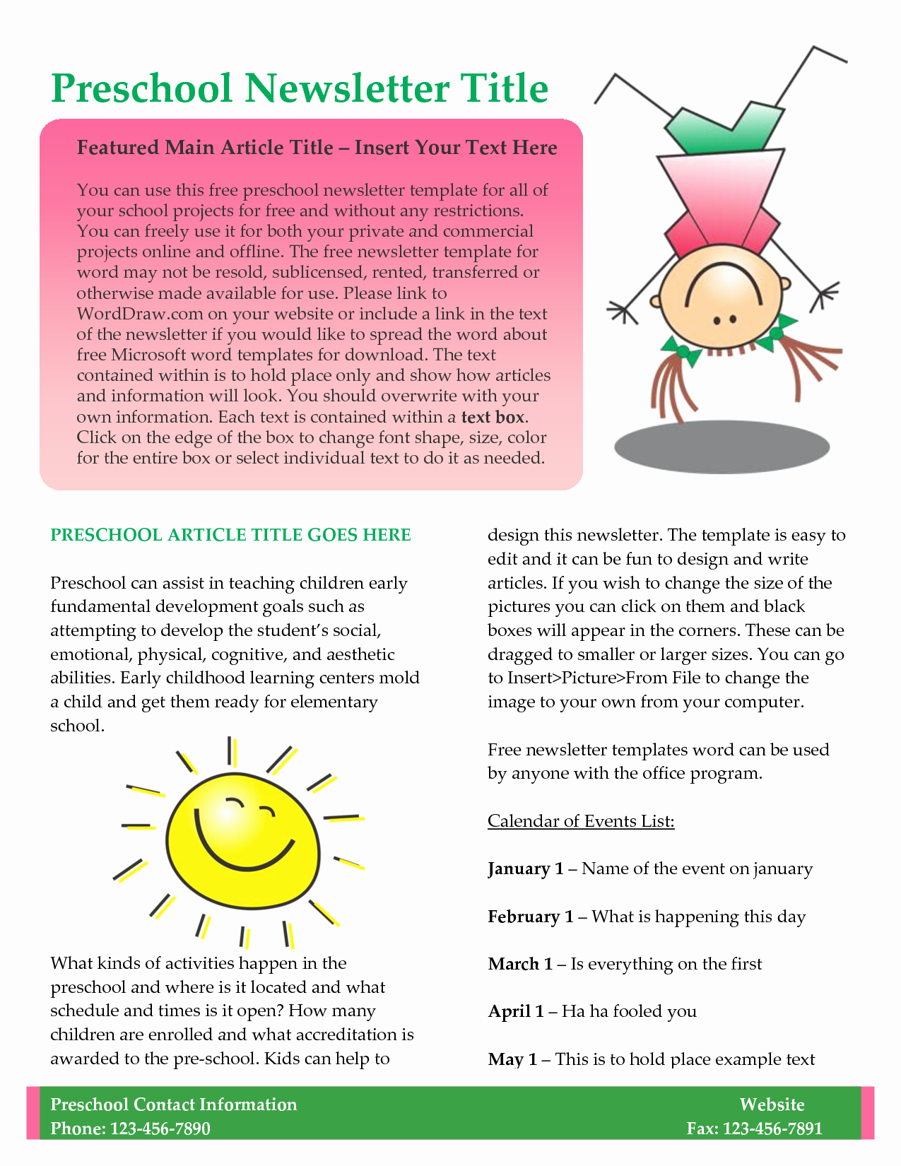 Free Print Newsletter Templates New Preschool Newsletter Template