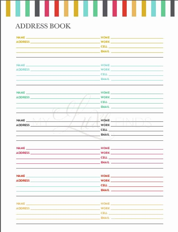 Free Printable Address Book Template Awesome Items Similar to Address and Phone Book organizer