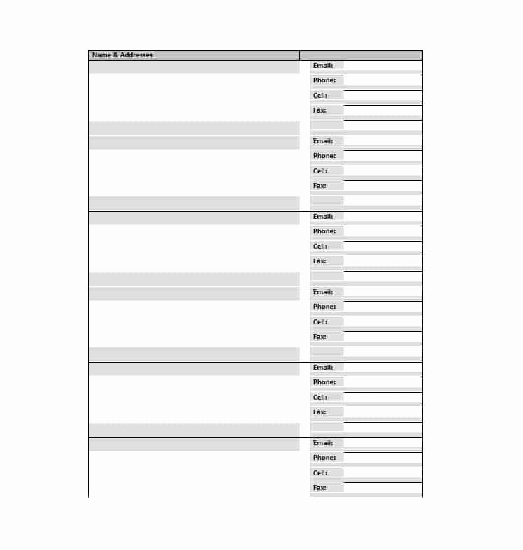 Free Printable Address Book Template Beautiful 40 Printable & Editable Address Book Templates [ Free]