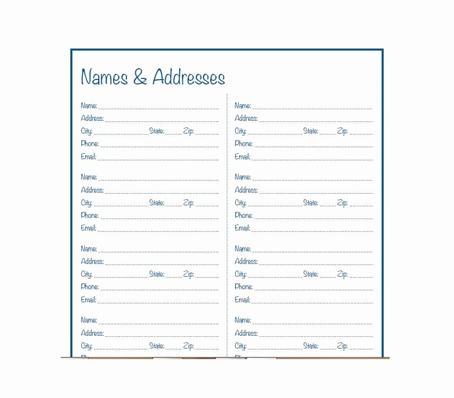 Free Printable Address Book Template Inspirational 40 Printable & Editable Address Book Templates [ Free]