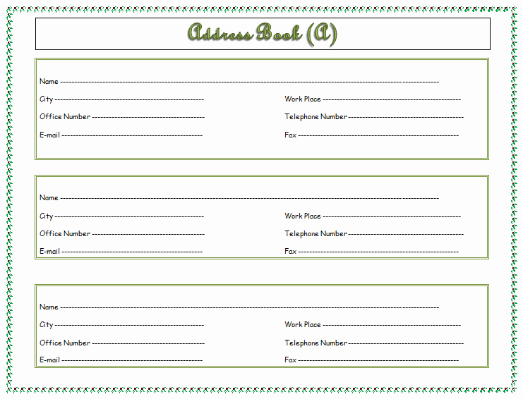Free Printable Address Book Template Lovely Address Book Template Record Your Important Addresses