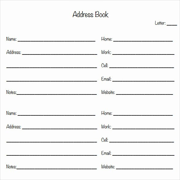Free Printable Address Book Template Unique Sample Address Book 9 Documents In Pdf Word Psd