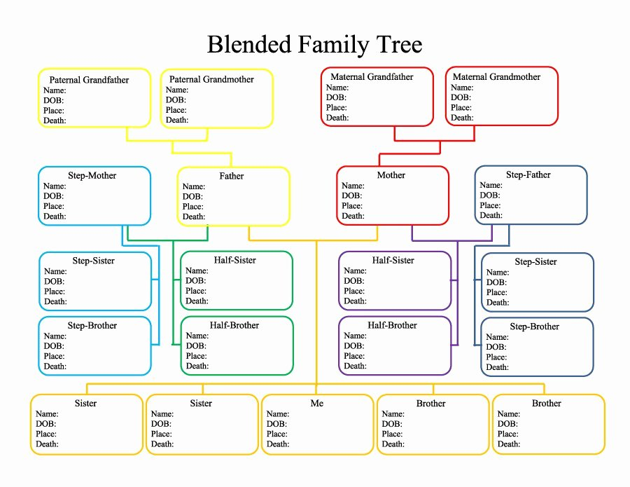 Free Printable Family Tree Template New 50 Free Family Tree Templates Word Excel Pdf