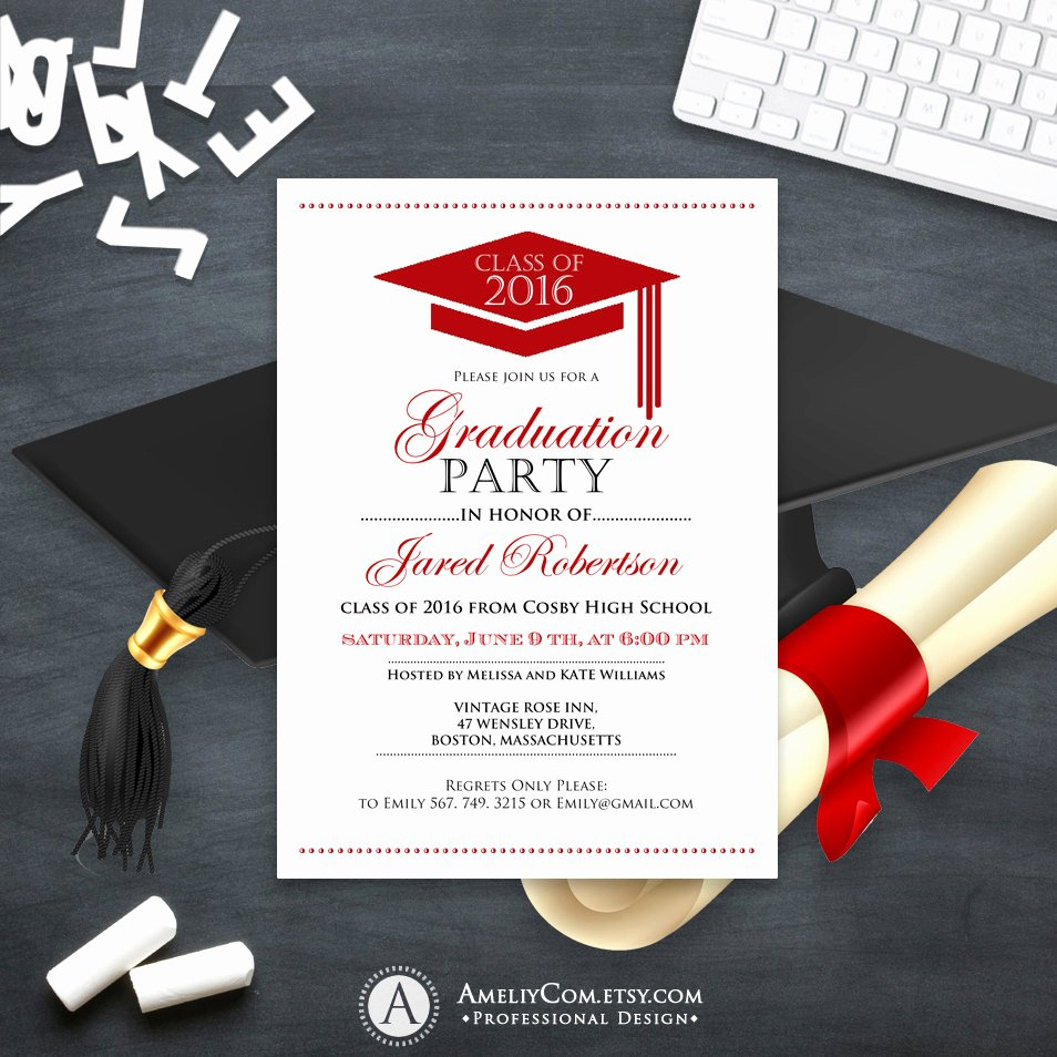 Free Printable Graduation Announcement Templates Awesome Graduation Announcement Boy Printable Template Red High School