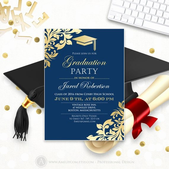 Free Printable Graduation Announcement Templates Elegant Graduation Announcement Printable Navy Gold College Graduation