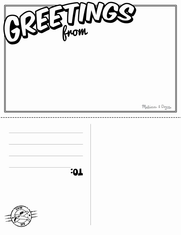 Free Printable Postcard Templates Lovely Postcard Clipart Template Pencil and In Color Postcard