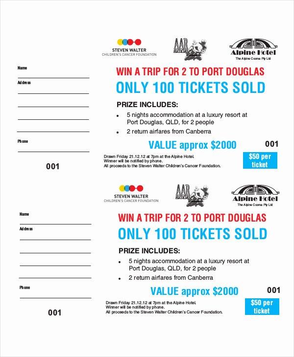 Free Printable Raffle Ticket Template Elegant Raffle Ticket Sample