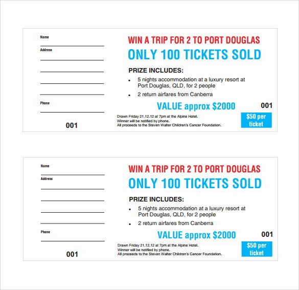 Free Printable Raffle Ticket Template Inspirational Sample Raffle Ticket Template 20 Pdf Psd Illustration