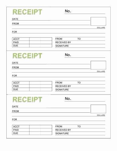 Free Printable Receipt Templates Fresh 3 Rent Receipt Book with Header