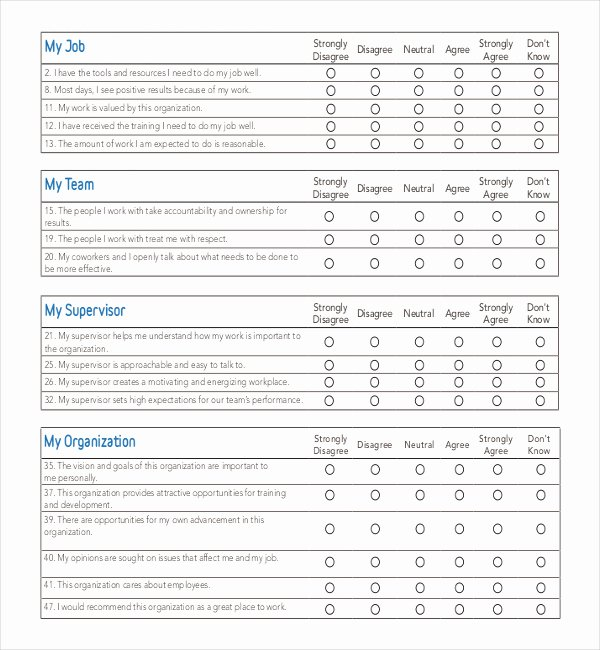Free Printable Survey Template Lovely 25 Employee Surveys