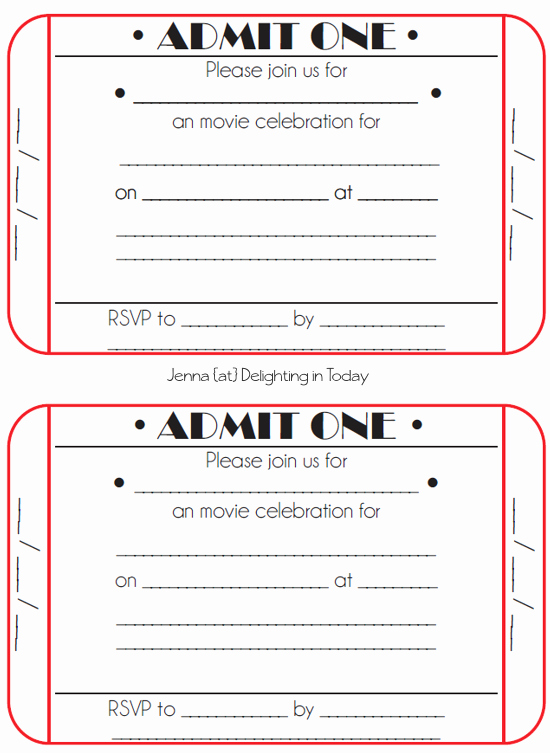 Free Printable Tickets Template Lovely Movie Ticket Birthday Invitations Free Printable