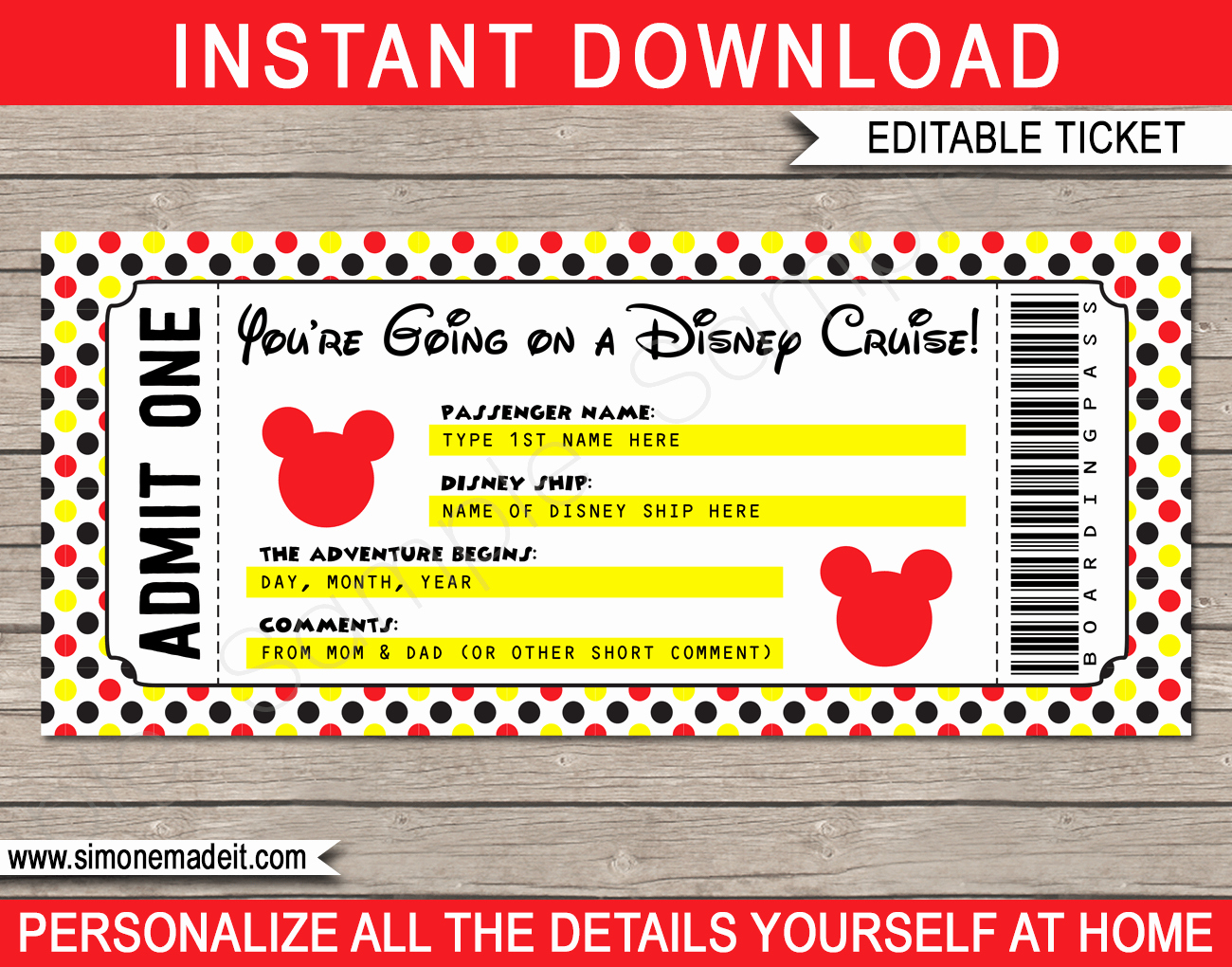 Free Printable Tickets Template Lovely Printable Disney Cruise Ticket