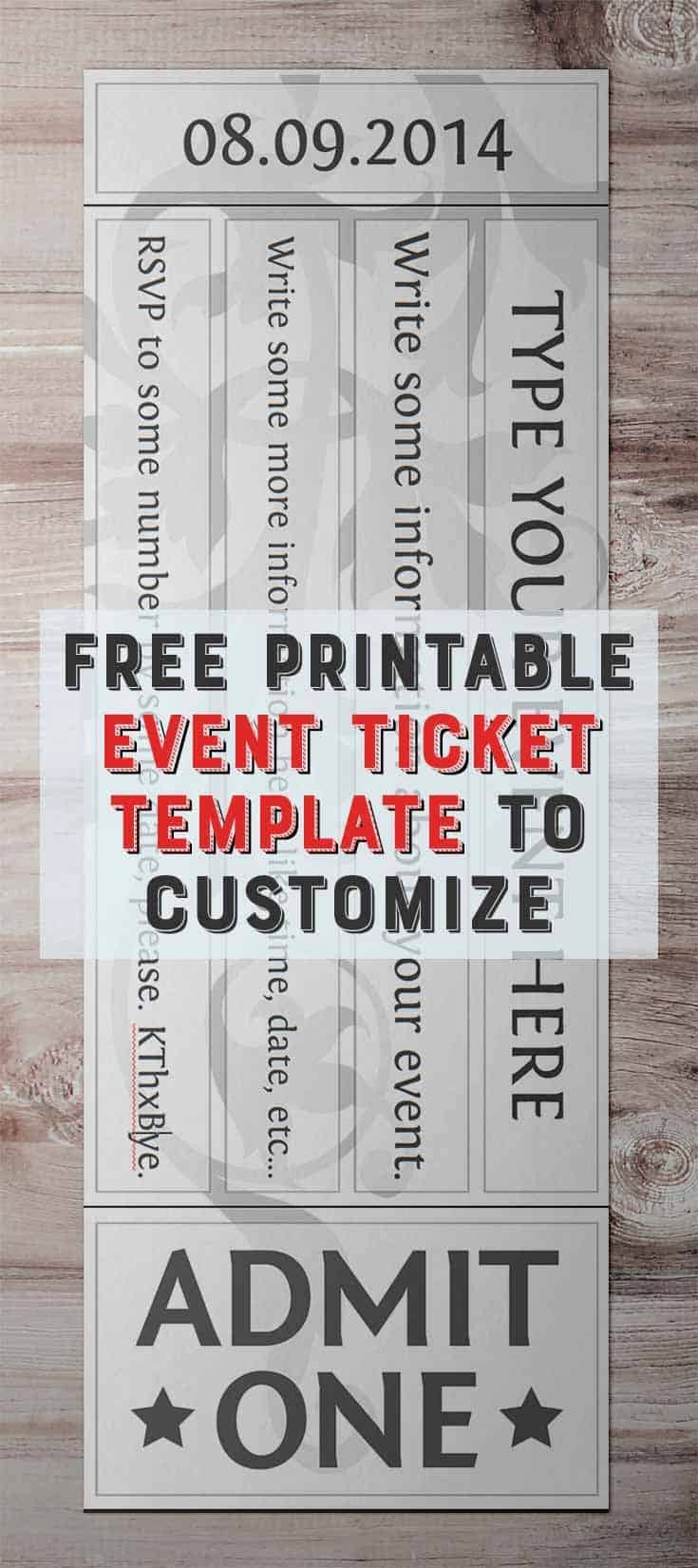 Free Printable Tickets Template Unique Free Printable event Ticket Template to Customize