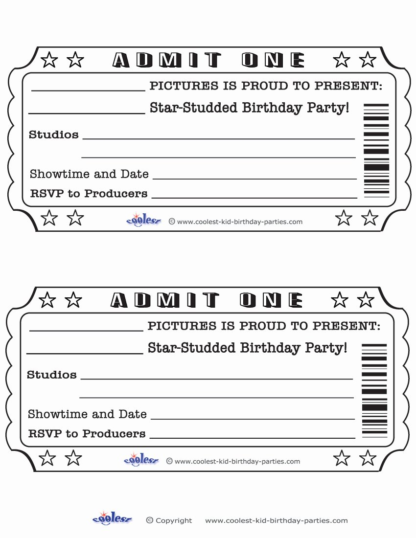Free Printable Tickets Template Unique Movie Ticket Template