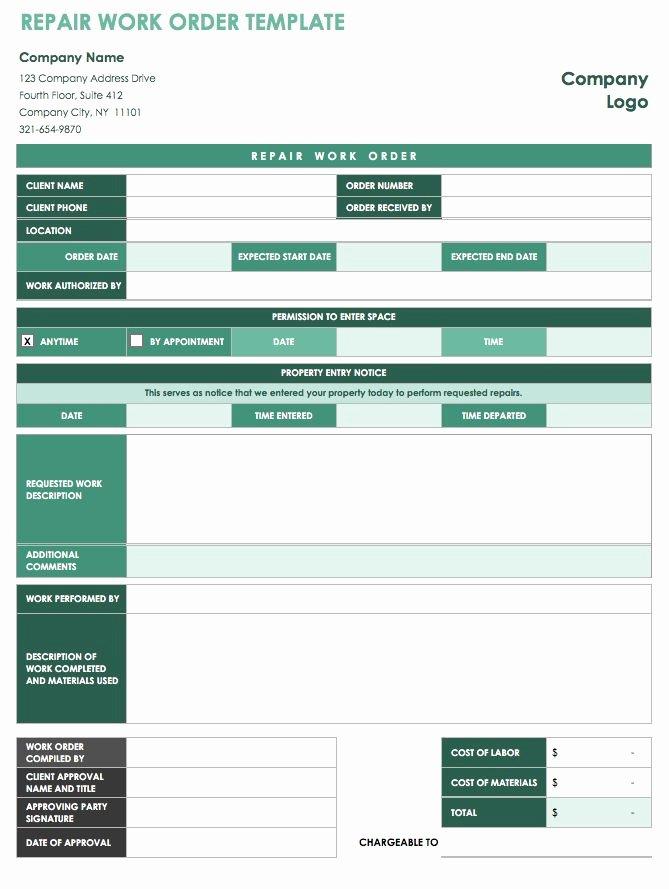 Free Printable Work order Template Elegant 15 Free Work order Templates