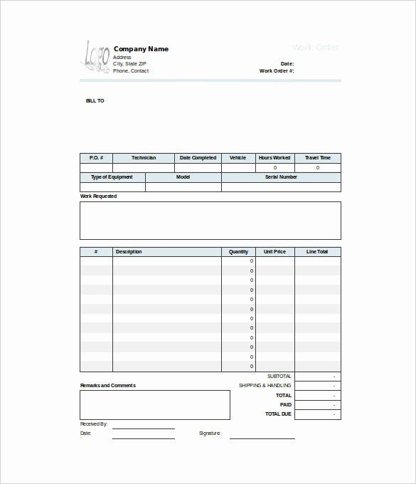 Free Printable Work order Template Unique 16 Work order Templates Word Google Docs