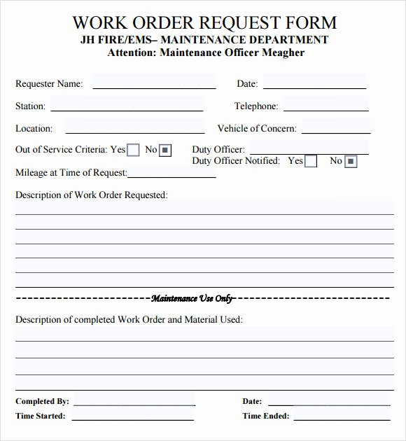 Free Printable Work order Template Unique Work order Template 16 Download Free Documents In Pdf