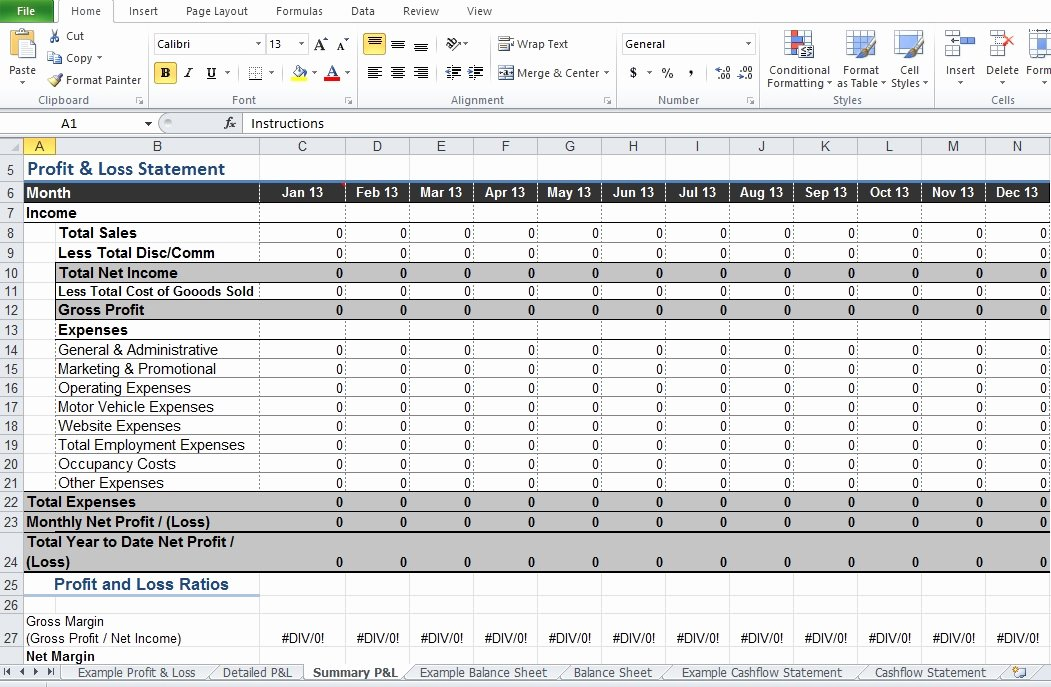 Free Profit Loss Template Beautiful Restaurant Profit and Loss Statement Template Excel