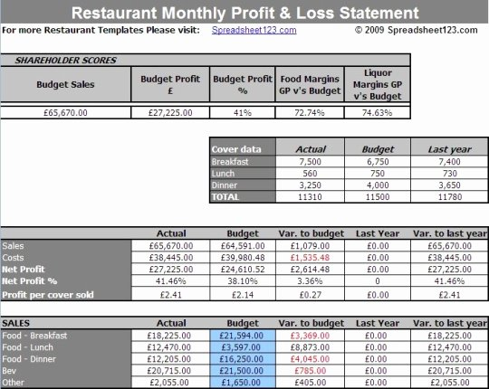 Free Profit Loss Template Best Of Restaurant Monthly Profit and Loss Statement Template for